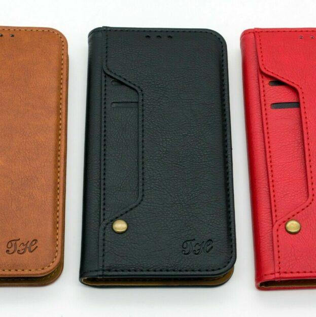 Klapp Tasche iPhone Samsung Huawei Handy Hülle Leder Kartenfächer 1
