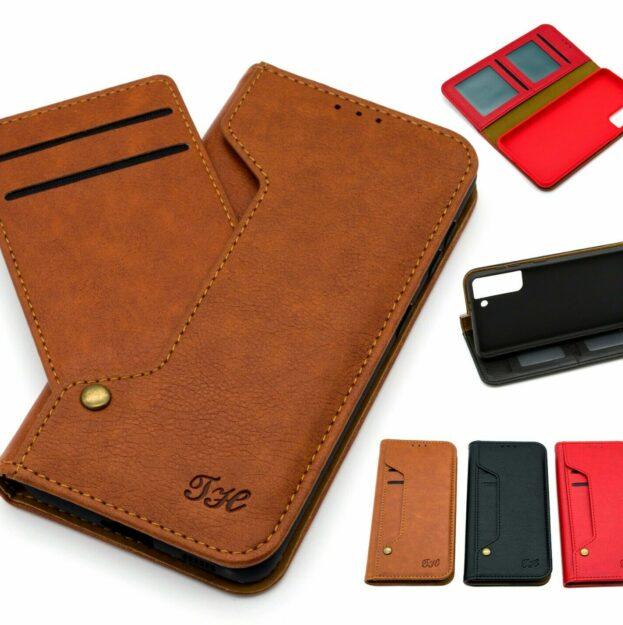 Klapp Tasche iPhone Samsung Huawei Handy Hülle Leder Kartenfächer